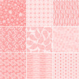Set of 9 seamless floral patterns Royalty Free Stock Image