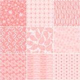 Set of 9 seamless floral patterns. Set of nine seamless floral patterns Royalty Free Stock Image