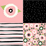 Set of seamless floral patterns Royalty Free Stock Image