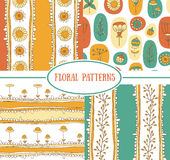 Set of seamless floral patterns. Royalty Free Stock Images