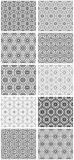Set of seamless floral patterns with traditional ornament Royalty Free Stock Photos