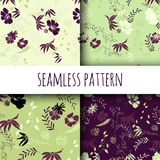 Set of seamless floral patterns. Vector background with flowers and leaves royalty free illustration