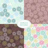 Set of seamless floral patterns. Vector Stock Images