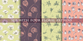 Set with seamless floral patterns. Vector illustration. Composition with floral elements. Pointillism style Royalty Free Stock Photos