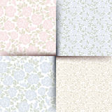 Set of seamless floral patterns. Vector illustration. Vector set of four seamless floral pink and blue patterns Royalty Free Stock Photos