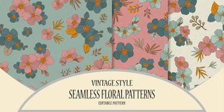 A set of seamless floral patterns in a vintage style. Spring pat. Set of Colorful seamless pattern - flowers in vintage style, spring, cherry, apple tree in Stock Illustration