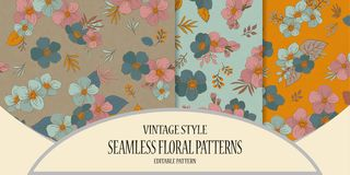 A set of seamless floral patterns in a vintage style. Spring pat. Set of Colorful seamless pattern - flowers in vintage style, spring, cherry, apple tree in Vector Illustration