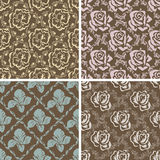 Set of seamless floral retro patterns. Royalty Free Stock Images