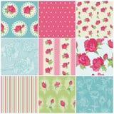 Set of Seamless Floral Rose backgrounds vector illustration
