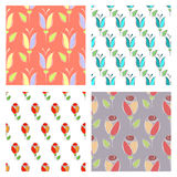 Set of seamless floral vector patterns. Royalty Free Stock Image