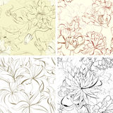 Set Seamless Floral Wallpaper Stock Image