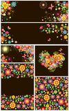 Set of seamless floral wallpaper and templates Royalty Free Stock Images