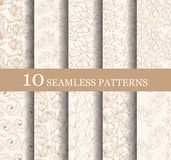 Set of 10 seamless flower patterns. Can be used for wallpaper website background textile printing Hand drawn endless vector illustration of flowers on light Stock Illustration