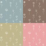Set of seamless flower patterns Stock Photos