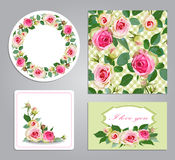 Set of seamless,frame,border with flowers. Royalty Free Stock Photos