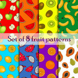 Set of seamless fruit and berry pattern Stock Image