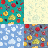 Set of seamless fruit and berry pattern. Stock Photography