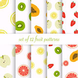 Set of seamless fruit patterns Stock Photos