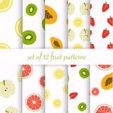 Set of seamless fruit patterns royalty free illustration