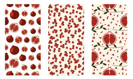Set of seamless fruits vector pattern, bright colorful background with pomegranates, seeds,  branches with leaves. Royalty Free Stock Photography
