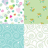 Set of seamless funny children`s patterns Royalty Free Stock Images