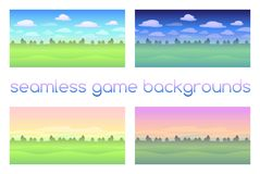 Set of 4 seamless game backgrounds. Eps 10 Royalty Free Stock Images