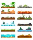 Set of seamless game landscape, interface. Landscape for 2D games. Set of seamless game landscape, gaming interface. Landscape for 2D games. Exotic tropical vector illustration