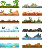 Set of seamless game landscape, interface. Landscape for 2D games. Set seamless game landscape scene, gaming interface for 2D games. Tropical landscape surface royalty free illustration