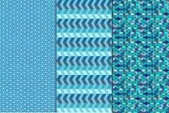 Set. Seamless geometric abstract patterns Stock Image