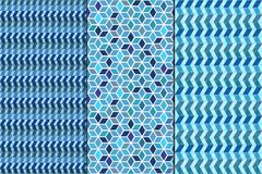 Set. Seamless geometric abstract patterns Stock Images