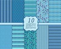 Set. Seamless geometric abstract patterns Stock Photos