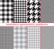 Set of seamless geometric black and white patterns, houndstooth, diamond, checkerboard. Pattern swatches are included in  file Royalty Free Stock Photo
