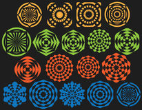 Set of seamless geometric decorative circle shapes Royalty Free Stock Image