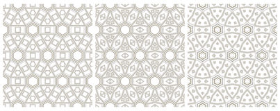 Set of 3 seamless geometric pattern Stock Image