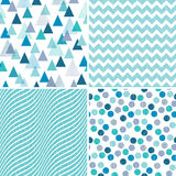 Set seamless geometric patterns aqua blue purple. Set of seamless geometric masculine patterns in aqua blue and purple with grunge textured overlay. Includes stock illustration