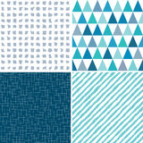 Set seamless geometric patterns aqua gray blue. Set of seamless geometric masculine patterns in aqua, gray and blue with grunge textured overlay. Includes Stock Images