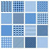 Set of seamless geometric patterns in blue. Set of 16 different seamless geometric patterns in blue with zigzags  diamond  stripes  squares  dots  wavy lines Stock Images