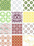 Set seamless geometric patterns - circles, swirls. And floral textures. Vector illustration stock illustration