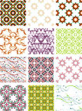 Set seamless geometric patterns - circles, swirls Royalty Free Stock Images