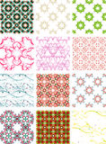 Set seamless geometric patterns - circles, swirls. And floral textures. Vector illustration vector illustration