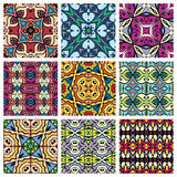 Set of seamless geometric patterns, design. Elements collection. Fabric repeating texture, doodle art Royalty Free Stock Image