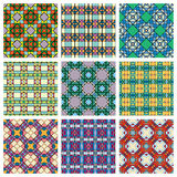 Set of seamless geometric patterns, design. Elements collection, vector colorful background Royalty Free Stock Photos