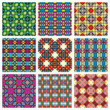 Set of seamless geometric patterns, design. Elements collection, vector colorful background Royalty Free Stock Photo