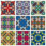 Set of seamless geometric patterns, design. Elements collection, vector colorful background Stock Photography