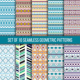 Set of 10 seamless geometric patterns. Set of 10 seamless ethnic tribal geometric patterns. Aztec boho ornamental style. Ethnic, native american, indian Royalty Free Illustration