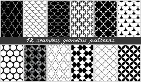 Set of seamless geometric patterns. Islamic black and white elements backgrounds collection. Vector stock illustration