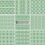 Set of seamless geometric patterns of multiple lines mint green. Set of seamless geometric patterns of multiple lines. Abstract vector prints collection mint Royalty Free Stock Images