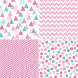 Set seamless geometric patterns pink white mint. Set of seamless geometric patterns for girls in pink, mint and white with grunge textured overlay. Includes Royalty Free Stock Image