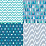 Set seamless geometric patterns teal blue aqua. Set of seamless geometric masculine patterns in aqua blue and teal with grunge overlay. Includes chevrons vector illustration