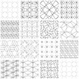 Set of 16 seamless geometric patterns. 16 Universal different seamless patterns, tiling. Endless texture can be used for wallpaper, pattern fills, web page stock illustration